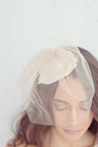 Image of Ivory alencon lace bridal hat with golden blusher veil