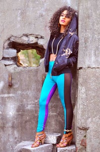 Image of ONIA Leggings in JADE & VIOLET HOLOGRAPHIC sparkle