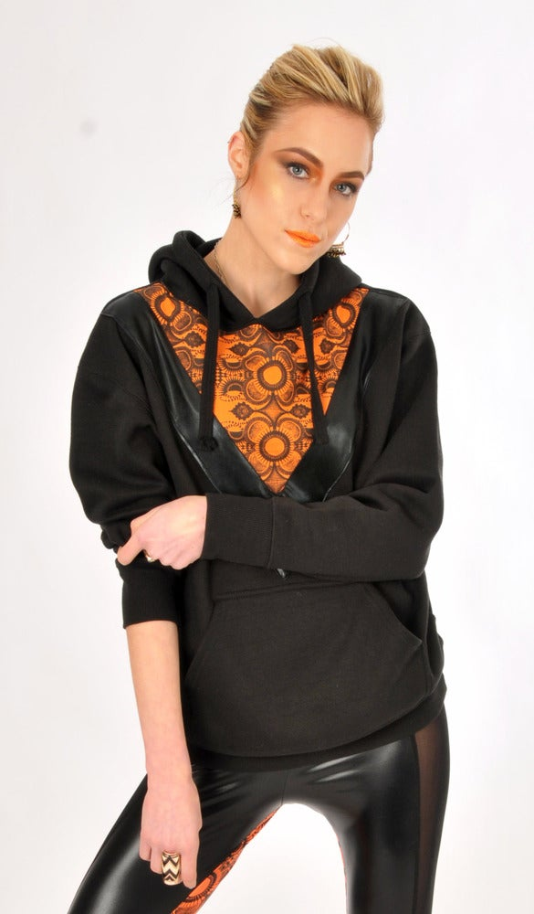 "Image of ORANGE UNISEX ""BLADE RUNNER"" HOODIE..."