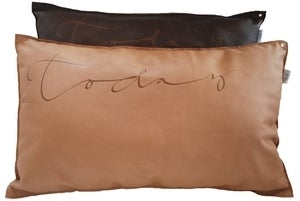 """Image of Swedish Leather Pillow - """"Today"""""""