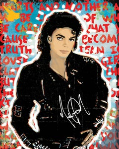 """Image of MJ 16"""" X 20"""" Mixed Media on Mounted Canvas."""