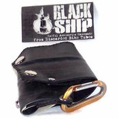 Image of Tri-Fold Snap Wallet: Black Vegan Bike Tube Rubber
