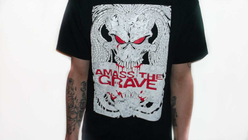 Image of AMASS THE GRAVE BLACK SKULL SHIRT WITH DESIGN