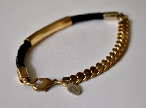 Image of 'Rozie' Gold & Leather Bracelet