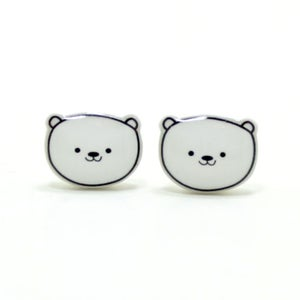 Image of Polar Bear Earrings - Sterling Silver Posts