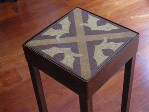 Image of Grey and white with beige cross plant stand
