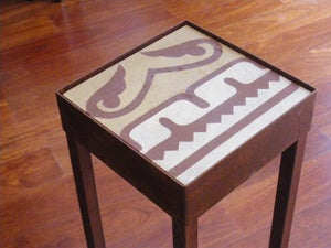 Image of Beige and soft red Totem plant stand