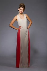Image of Coral and Nude Maxi Dress