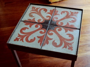 Image of Red fleur-de-lis end table