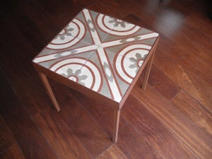 Image of End table: Red lines, Grey and Creme. Version I