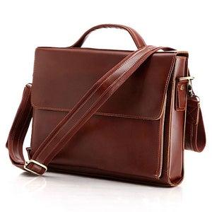"Image of Handmade Genuine Leather Briefcase Messenger Bag 14"" Laptop / 13"" MacBook Case (n56)"