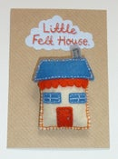 Image of Little Felt House Brooch (Orange and Blue)