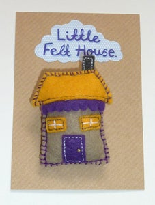 Image of Little Felt House Brooch (Purple and Yellow)