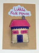 Image of Little Felt House Brooch (Purple and Pink)