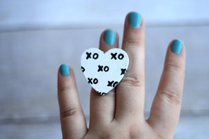 Image of Hand Painted Heart Ring - XO (one of a kind)