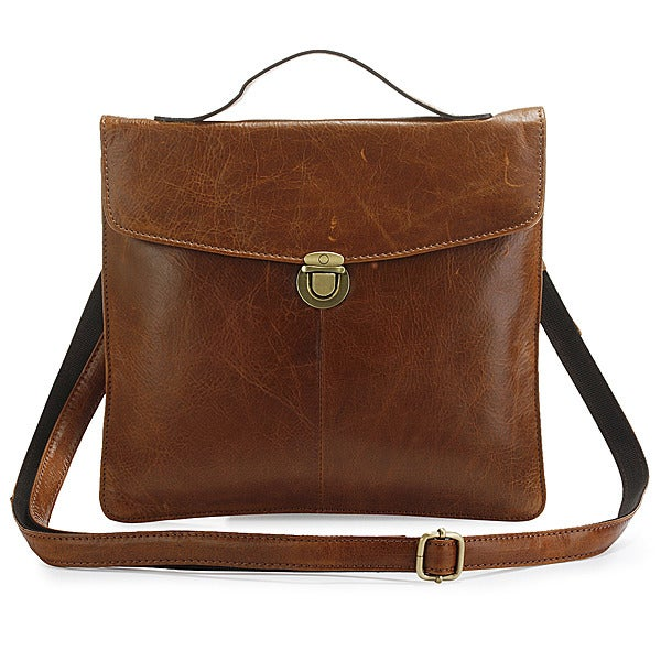 Image of Handmade Antique Leather iPad Bag Messenger Bag in Brown (n60)