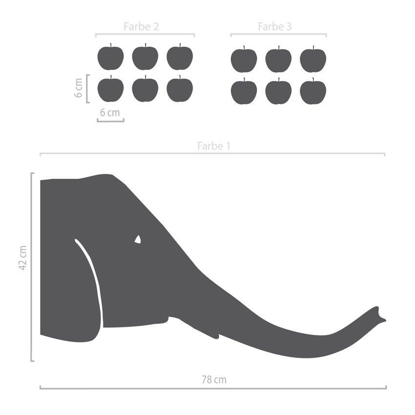 Image of Elefant Wandaufkleber - grosser Kopf mit Äpfeln
