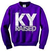 Image of KY Raised Crewneck Sweatshirt in Purple / White / Grey