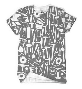 Image of Metals tools: white tools on gray background on white shirt