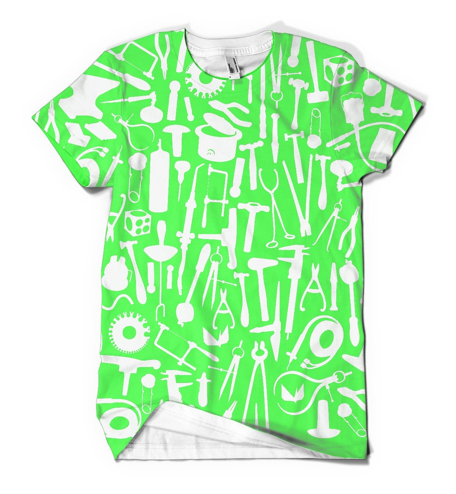 Image of Metals tools: white tools on green background on white shirt