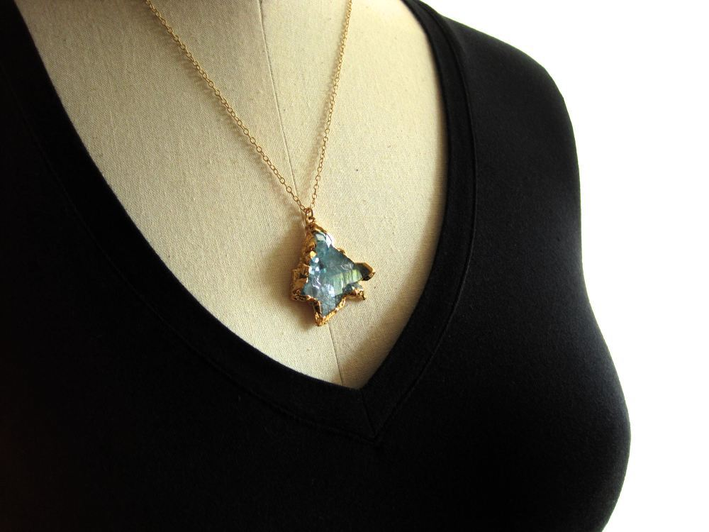 Image of Aqua aura cluster necklace quartz nugget gold