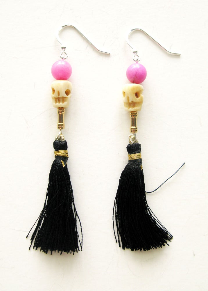 Image of Tassel Skull Earrings