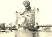 Image of Godzilla Gaia  at Tower Bridge  Pop Surreal SteamPunk High Quality Silkscreen Print Art Surrealism