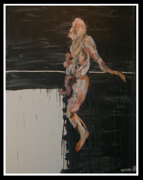 Image of Modern Male Nude Expressionist Oil Painting by Michael Hafftka - Slice