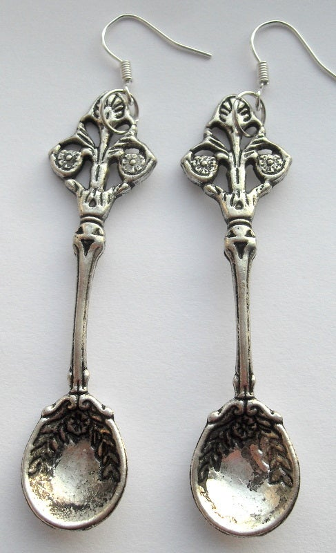 Image of Alice in Wondeland Silver Snuff Spoon teaspoon Earrings