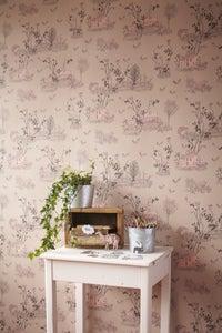 Image of Woodlands Wallpaper Brown Pink