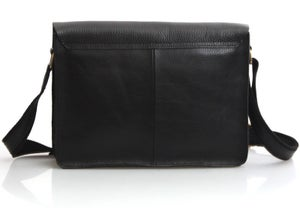 Image of Handmade Genuine Leather Messenger Satchel iPad Bag in Black (n50-2)