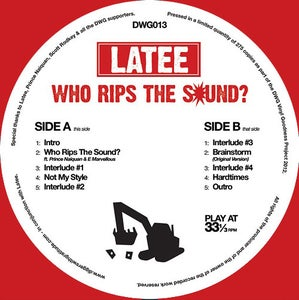Image of DWG013: Latee 'Who Rips The Sound?' E.P. (red vinyl) **ONE PER CUSTOMER PLEASE**