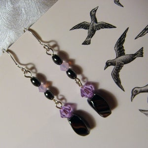 Image of Black Licorice Swarovski Earrings