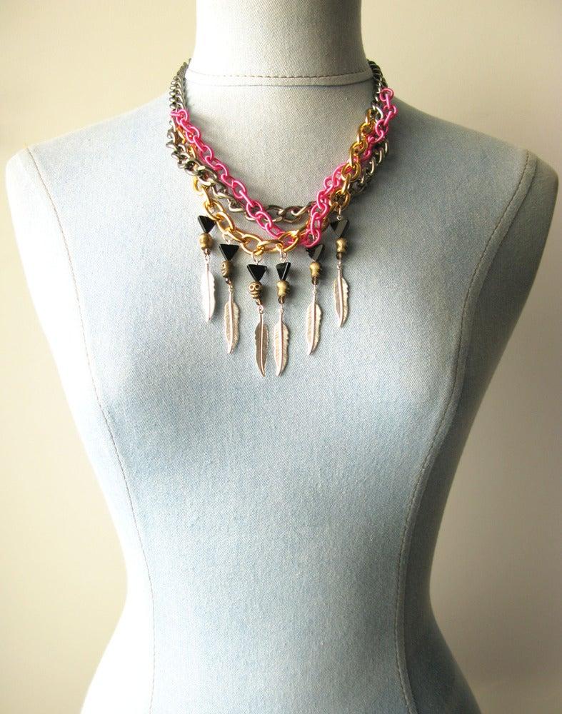 Image of Mohawk Skull Necklace