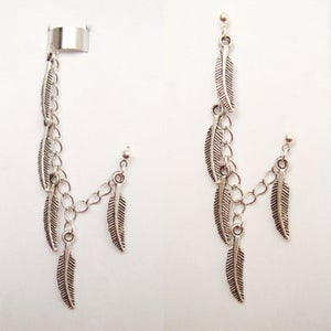 Image of Single Multi Feather Chain with Double Piercing or Earring Cuff