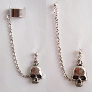 Image of Single Skull Chain with Double Piercing or Earring Cuff