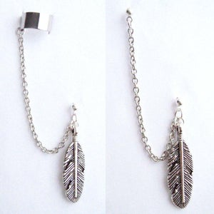 Image of Single Large Feather Chain with Double Piercing or Earring Cuff