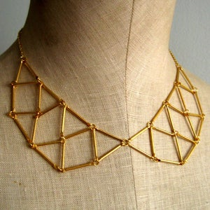 Image of Webbed Geometric Peter Pan Collar Necklace