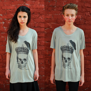 Image of Perching Crow Skull Tee Olive Taupe