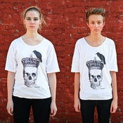 Image of Perching Crow Skull Tee White