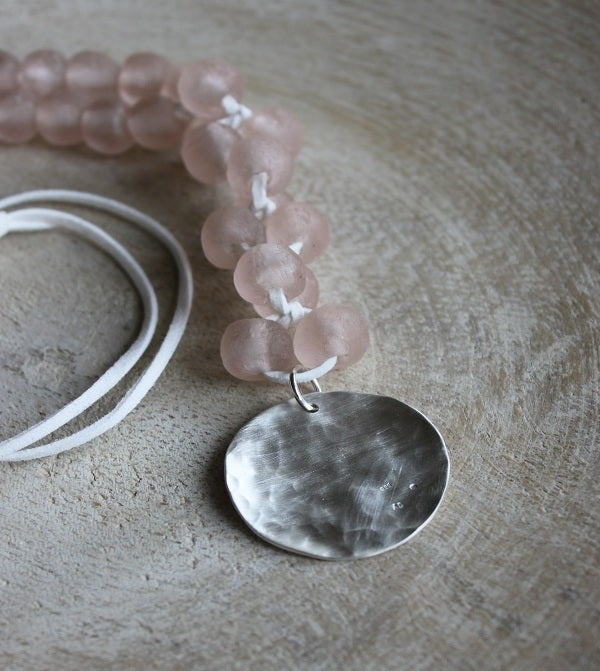 Image of Chunky Bead Necklace, Light Powder Pink
