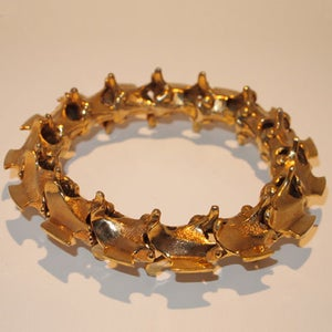 """Image of """"Spinal Bangle"""" Gold Plated Brass"""
