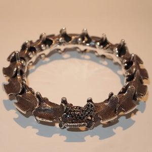 "Image of ""Spinal Bangle"" Silver & Black Rhodium, Black Diamond Pave"