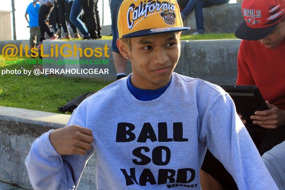 "Image of Grey and BLACK ""BALL SO HARD "" CREWNECK"