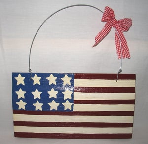 Image of Wooden American Made Flag Hand Made Indoor Outdoor Wall Hangings Rustic