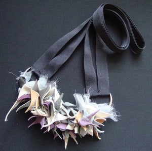 Image of Purple Grey Tan Leather Chiffon Long Necklace