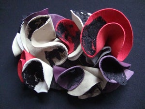 Image of Round London Colourful Leather & Lace Ruffle Brooch / Adornment