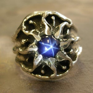 Image of Mens Unique, Custom Vintage Design Sunburst Ring