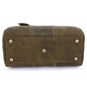Image of Vintage Handmade Antique Crazy Horse Leather Travel Bag / Luggage / Duffle Bag / Weekend Bag (n66)