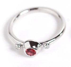 Image of Red Sapphire and Diamond Ring